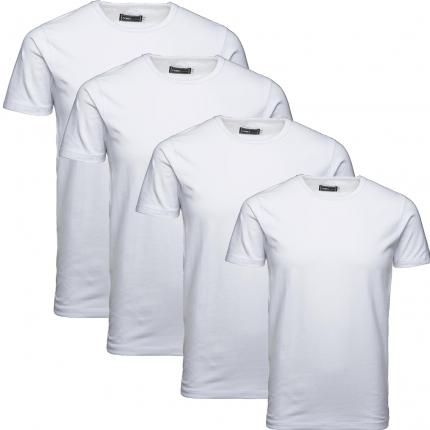Jack & Jones Herren Basic T-Shirt O-Neck 4er Pack weiß Rundhals