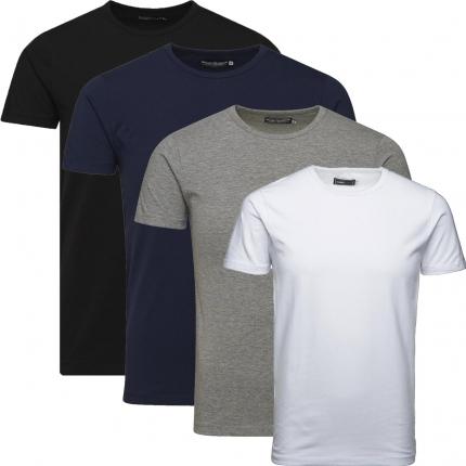 Jack & Jones Herren Basic T-Shirt O-Neck 4er Pack MIX Rundhals weiß, grau, schwarz, blau