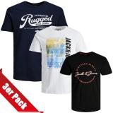Jack & Jones Herren T-Shirt Rundhals 3er Paket #45