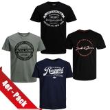 Jack & Jones Herren T-Shirt Rundhals 4er Paket #01