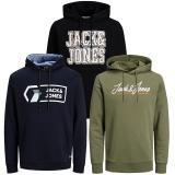Jack & Jones Herren Kapuzenpullover 3er Pack Hoodie Sweat X18