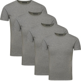 Jack & Jones Herren Basic T-Shirt O-Neck 4er Pack grau Rundhals