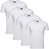 Jack & Jones Herren Basic T-Shirt V-Neck 4er Pack Weiß