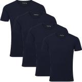 Jack & Jones Herren Basic T-Shirt V-Neck 4er Pack Blau