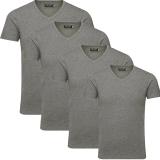 Jack & Jones Herren Basic T-Shirt V-Neck 4er Pack Grau