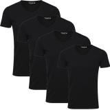 Jack & Jones Herren Basic T-Shirt V-Neck 4er Pack Schwarz