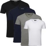 Jack & Jones Herren Basic T-Shirt V-Neck 4er Pack Mix