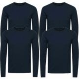Jack & Jones Herren Basic Langarm T-Shirt 4er Pack Rundhals Longsleeve blau