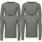Jack & Jones Herren Basic Langarm T-Shirt 4er Pack Rundhals Longsleeve grau