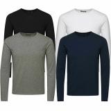 Jack & Jones Herren Basic Langarm T-Shirt 4er Pack Rundhals Longsleeve Mix