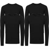 Jack & Jones Herren Basic Langarm T-Shirt 4er Pack Rundhals Longsleeve schwarz